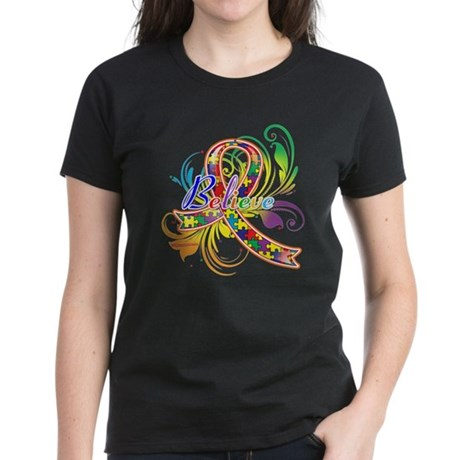 Autism Awareness Believe Women's Dark T-Shirt
