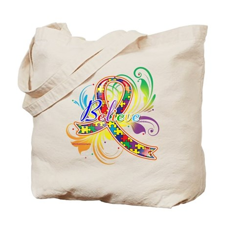 Autism Awareness Believe Tote Bag
