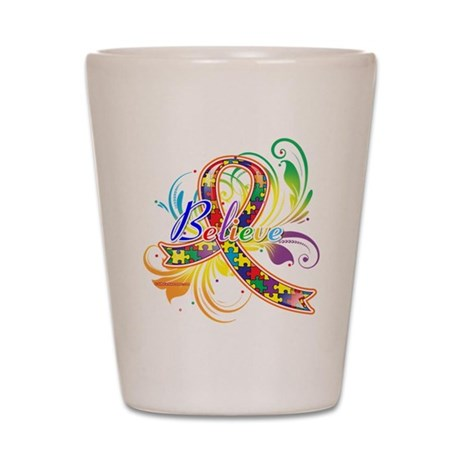 Autism Awareness Believe Shot Glass