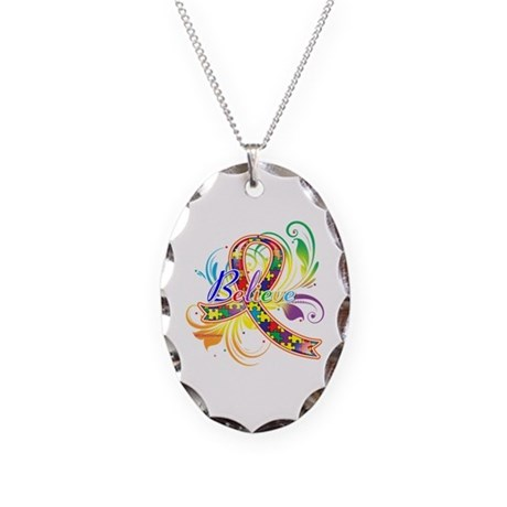 Autism Awareness Believe Necklace Oval Charm