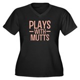 PLAYS Mutts Women's Plus Size V-Neck Dark T-Shirt