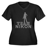 Team Nikon Women's Plus V-Neck Dark T-Shirt