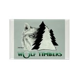 Wolf Timbers Logo Rectangle Magnet