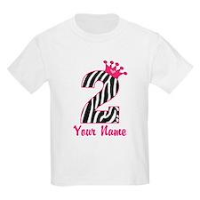 2nd Birthday Zebra Print T-Shirt