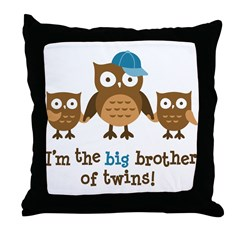 Big Brother of Twins - Mod Owl Throw Pillow