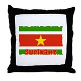 Vintage Suriname Flag Throw Pillow