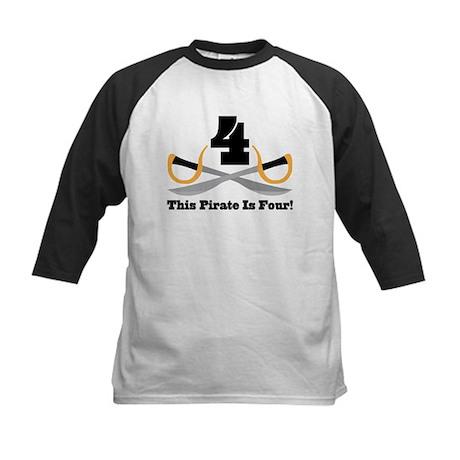 Pirate 4th Birthday Gift Kids Baseball Jersey