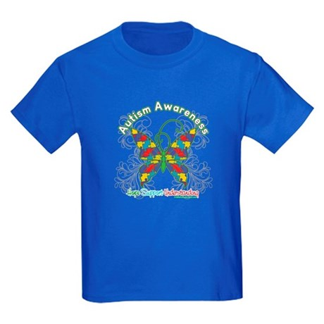 Autism Awareness Hope Butterfly Kids Dark T-Shirt