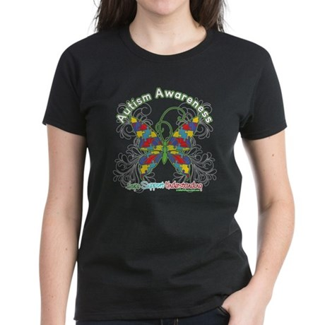 Autism Awareness Hope Butterfly Women's Dark T-Shi