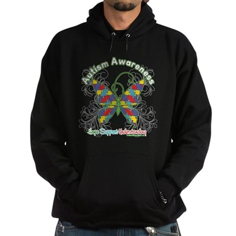 Autism Awareness Hope Butterfly Hoodie (dark)