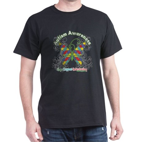 Autism Awareness Hope Butterfly Dark T-Shirt