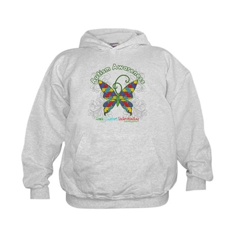 Autism Awareness Hope Butterfly Kids Hoodie
