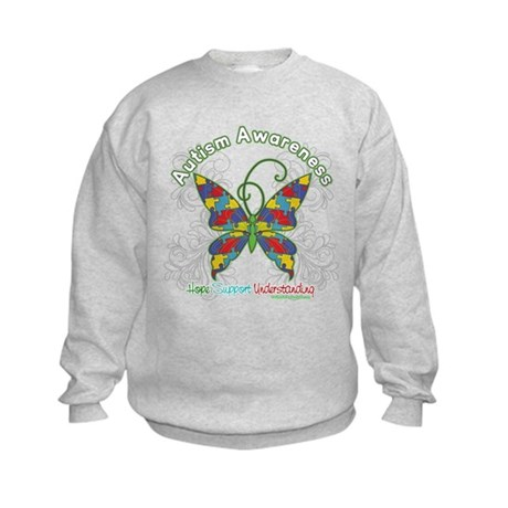 Autism Awareness Hope Butterfly Kids Sweatshirt