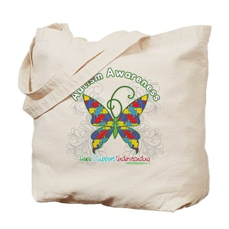 Autism Awareness Hope Butterfly Tote Bag