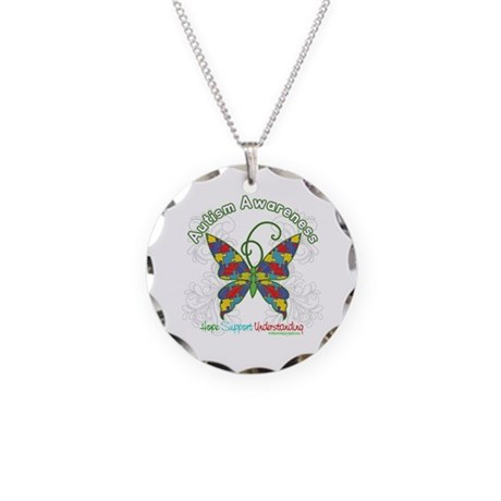 Autism Awareness Hope Butterfly Necklace Circle Ch