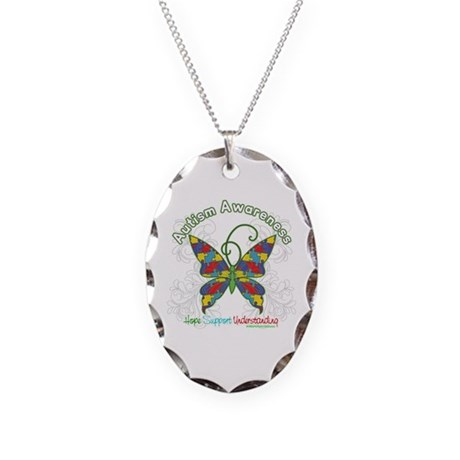 Autism Awareness Hope Butterfly Necklace Oval Char