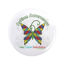 "Autism Awareness Hope Butterfly 3.5"" Button"