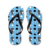 Toy Black Poodle Seeing Spots Flip Flops