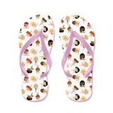 Gymnastics Girl Cartoon Flip Flops