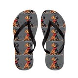 Happy Dachshunds Grey Flip Flops