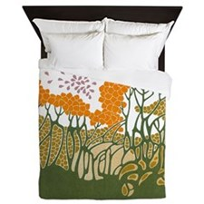 Arts and Crafts Trees Queen Duvet