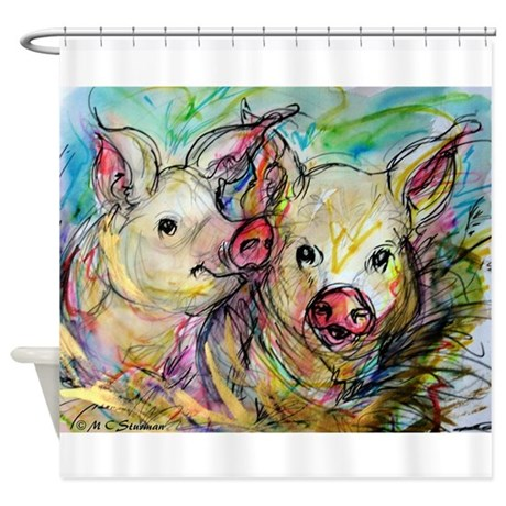Pigs! bright pig art! Shower Curtain