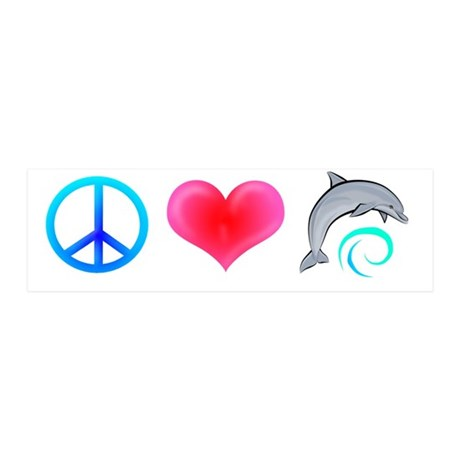 Peace Love Bottlenose Dolphin 21x7 Wall Peel