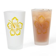 Orange and Yellow Hibiscus Drinking Glass