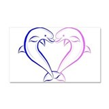 Dolphin Heart Blue and Pink Car Magnet 20 x 12