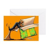 Airedale Birthday Surprise Orange Greeting Cards (