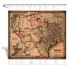 Antique Map of Texas Shower Curtain