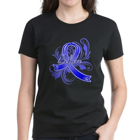 Anal Cancer BELIEVE Women's Dark T-Shirt
