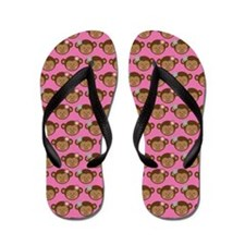 Girl Monkey Jungle Face Flip Flops