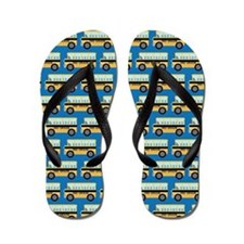 2nd Grade School Bus Blue Flip Flops