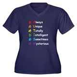 Autism Puzzle Women's Plus Size V-Neck Dark T-Shir