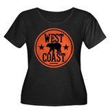 West Coast Women's Plus Size Scoop Neck Dark T-Shi