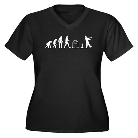 Zombie Evolution Women's Plus Size V-Neck Dark T-S