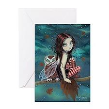 Autumn Owl and Fairy Greeting Card