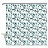 Blue & Green Seashells White Back Shower Curta