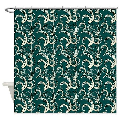Fern Tendrils Forest Green Shower Curtain By Digitalrealityart
