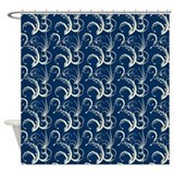 Fern Tendrils Navy Blue Shower Curtain