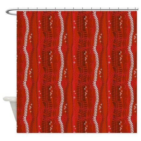 twisting swirling vines in rust shower curtain by