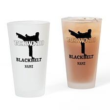 Personalized TKD Black Belt Drinking Glass
