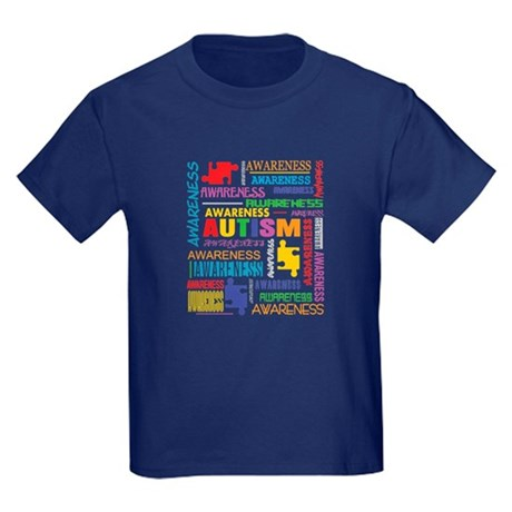 Autism Awareness Collage Kids Dark T-Shirt