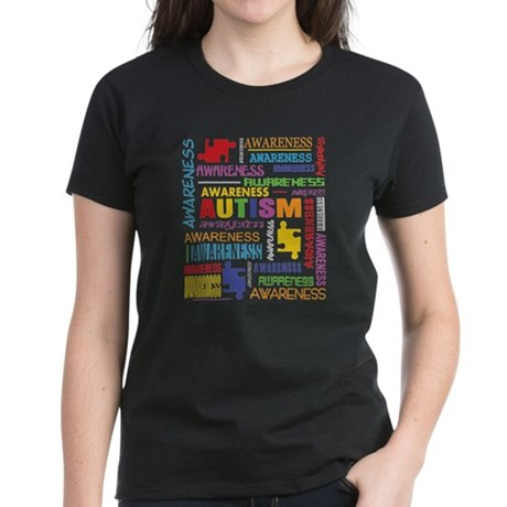 Autism Awareness Collage Women's Dark T-Shirt