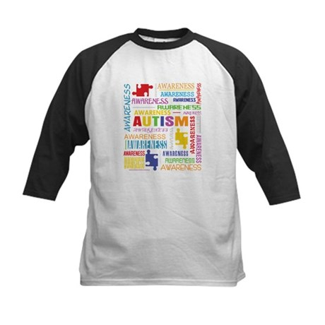 Autism Awareness Collage Kids Baseball Jersey