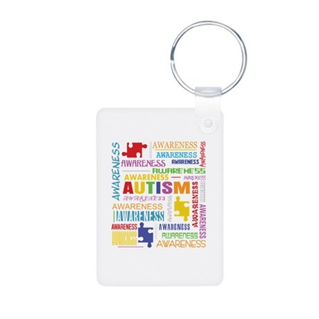 Autism Awareness Collage Aluminum Photo Keychain