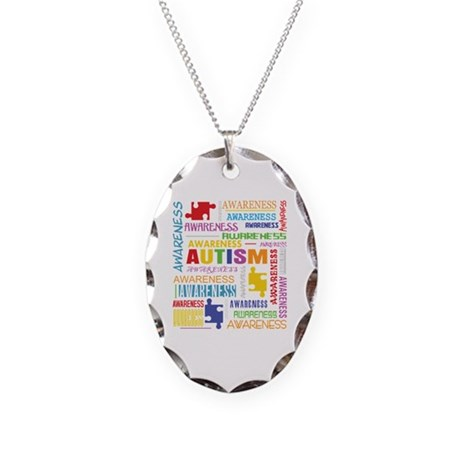 Autism Awareness Collage Necklace Oval Charm