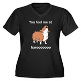 Baroo Women's Plus Size V-Neck Dark T-Shirt