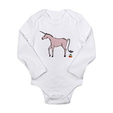 Unicorns Poop Rainbows Long Sleeve Infant Bodysuit